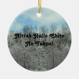 Ornement Rond En Céramique Joyeux Noël dans le Choctaw