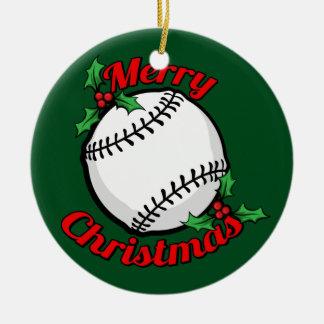 Ornement Rond En Céramique Joyeux Noël de base-ball