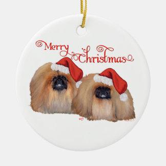 Ornement Rond En Céramique Joyeux Noël de Pekingese