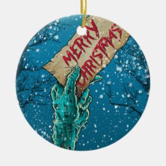 Ornement Rond En Céramique Joyeux Noël de zombi