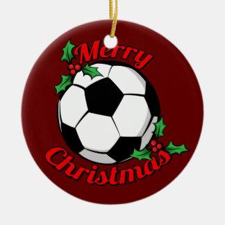 Ornement Rond En Céramique Joyeux Noël du football