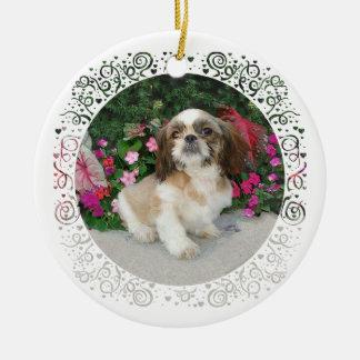 Ornement Rond En Céramique Joyeux Noël Pekingese