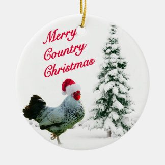 Ornement Rond En Céramique Joyeux poulet de Noël de pays avec le casquette de