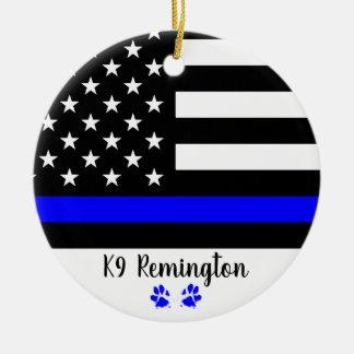 Ornement Rond En Céramique K9 dirigeant - Blue Line mince - chien policier