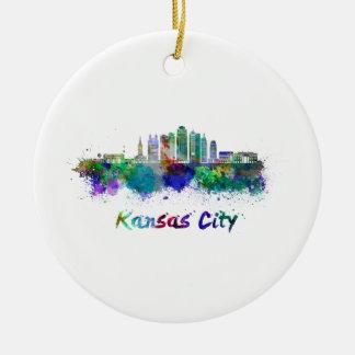 Ornement Rond En Céramique Kansas Ville V2 skyline in watercolor