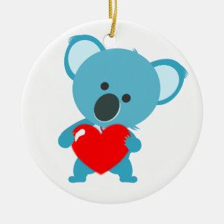 Ornement Rond En Céramique Koala coeur