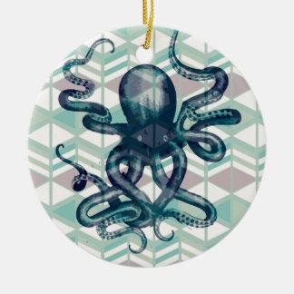 Ornement Rond En Céramique kraken aztéque vintage