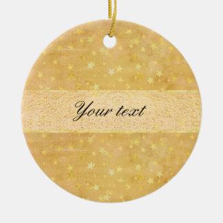 Ornement Rond En Céramique La feuille d'or personnalisée tient le premier