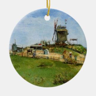 Ornement Rond En Céramique La Galette, moulin à vent vintage de Van Gogh Le