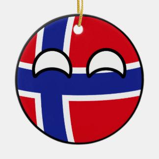 Ornement Rond En Céramique La Norvège Geeky tendante drôle Countryball