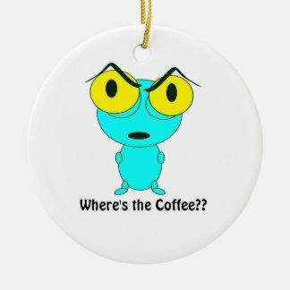 Ornement Rond En Céramique Là où est le café, la bande dessinée étrangère