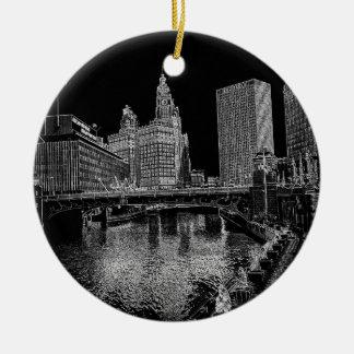 Ornement Rond En Céramique La rivière Chicago Wrigley 1967 établissant Sun