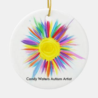 Ornement Rond En Céramique La sucrerie arrose l'artiste d'autisme