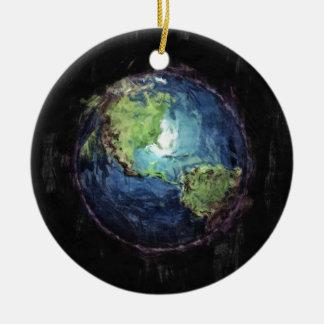 Ornement Rond En Céramique La terre et l'espace
