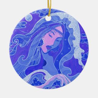 Ornement Rond En Céramique La vague, la sirène, la fille asiatique, le bleu