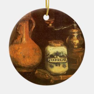 Ornement Rond En Céramique La vie toujours avec le moulin à café par Vincent