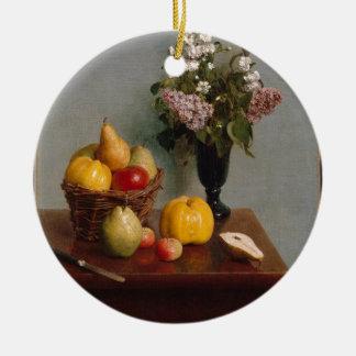 Ornement Rond En Céramique La vie toujours avec les fleurs et le fruit