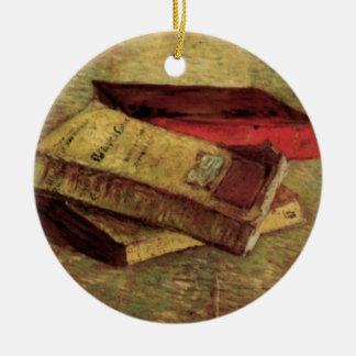 Ornement Rond En Céramique La vie toujours avec trois livres par Vincent van