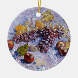 Ornement Rond En Céramique La vie toujours : Pommes, poires, raisins - Van