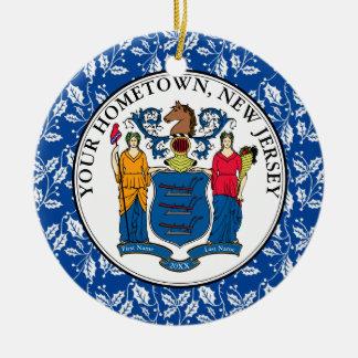 Ornement Rond En Céramique La ville natale de New Jersey personnalisent