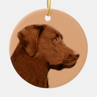 Ornement Rond En Céramique Labrador retriever (chocolat) peignant - art de