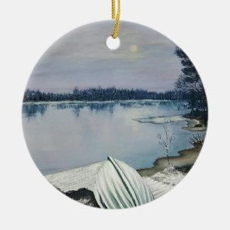 Ornement Rond En Céramique Lac forest