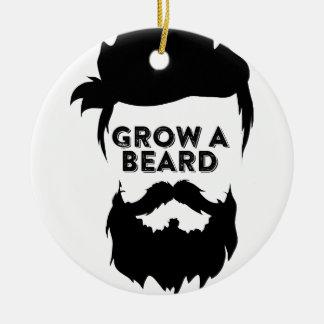 Ornement Rond En Céramique Laissez-vous pousser une barbe alors que nous