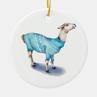 Ornement Rond En Céramique Lama d'aquarelle dans le chandail bleu