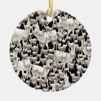 Ornement Rond En Céramique Lama de lama et plus de lamas