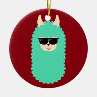 Ornement Rond En Céramique Lama frais d'Emoji