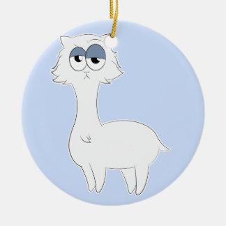 Ornement Rond En Céramique Lama grincheux de chat persan