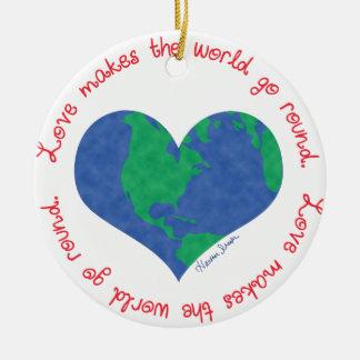 Ornement Rond En Céramique L'amour fait le monde tourner
