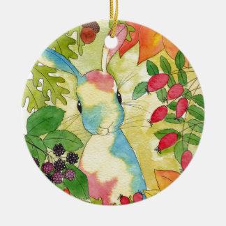 Ornement Rond En Céramique Lapin d'automne par art de menthe poivrée