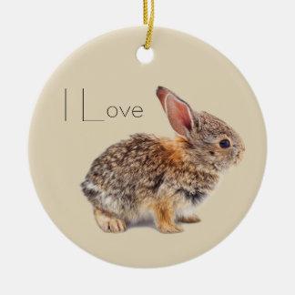 Ornement Rond En Céramique Lapin de lapin de lapin de bébé