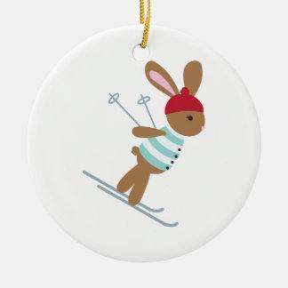 Ornement Rond En Céramique Lapin de ski