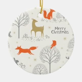 Ornement Rond En Céramique Lapin mignon de cerfs communs de forêt de Noël -