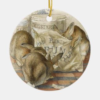 Ornement Rond En Céramique Lapins de Joyeux Noël