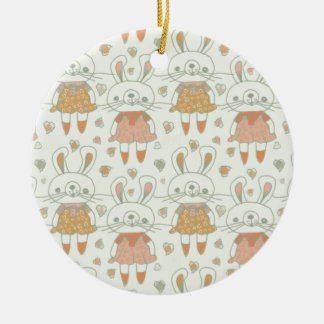 Ornement Rond En Céramique Lapins heureux dans l'orange