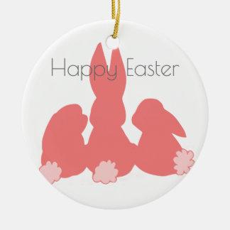 Ornement Rond En Céramique Lapins mignons heureux de Pâques |