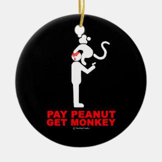 Ornement Rond En Céramique L'arachide de salaire, obtiennent le singe