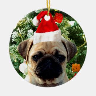 Ornement Rond En Céramique L'arbre de Noël de chiot de carlin ornemente le