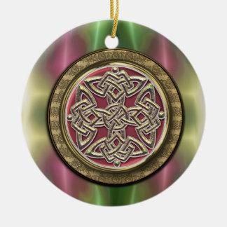 Ornement Rond En Céramique L'arc-en-ciel allume le noeud celtique en pierre