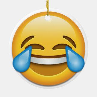 Ornement Rond En Céramique Larmes Noël latéral drôle d'emoji de joie de