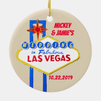 Ornement Rond En Céramique Las Vegas a personnalisé des économies la date