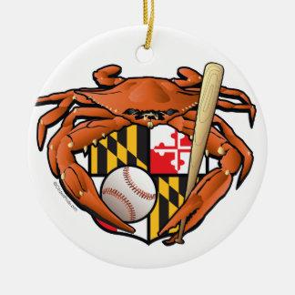 Ornement Rond En Céramique Le base-ball de Baltimore folâtre le crabe