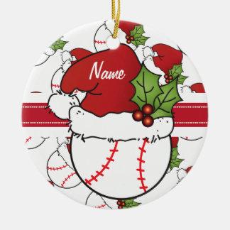 Ornement Rond En Céramique Le base-ball de Noël personnalisent