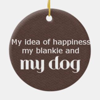 Ornement Rond En Céramique Le bonheur est mon chien