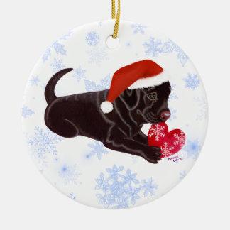 Ornement Rond En Céramique Le casquette de chocolat de Labrador de Père Noël