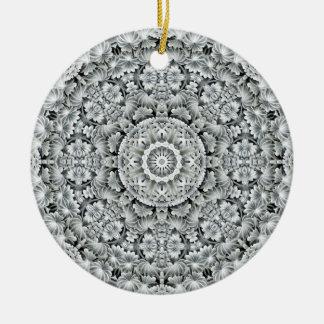 Ornement Rond En Céramique Le cercle blanc de motif de feuille ornemente 6