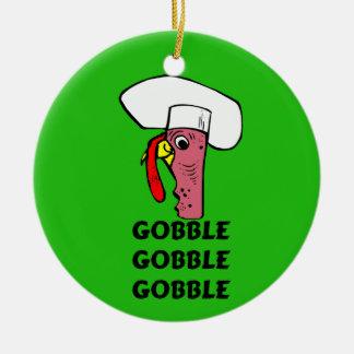 Ornement Rond En Céramique Le chef de la Turquie de thanksgiving avalent